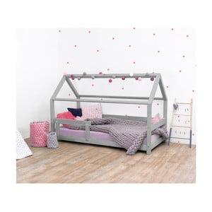 Šedá dětská postel s bočnicí ze smrkového dřeva Benlemi Tery, 120 x 190 cm
