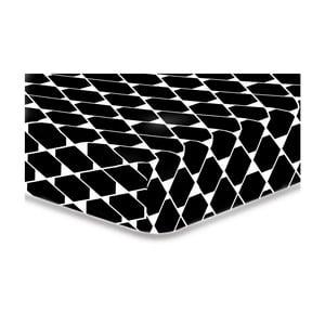 Černé elastické prostěradlo z mikrovlákna DecoKing Rhombuses, 200x220cm