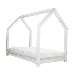 Funny fehér egyszemélyes ágy, borovi fenyőből, 80 x 160 cm - Benlemi
