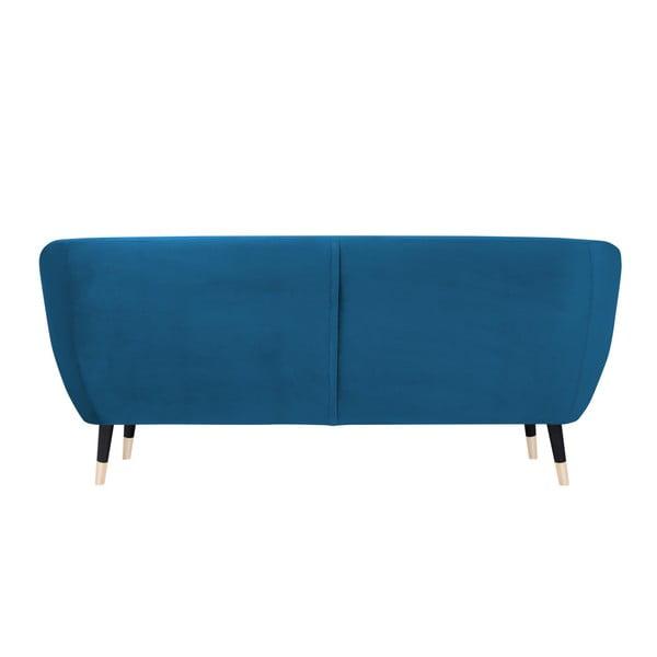 Benito kék háromszemélyes kanapé fekete lábakkal - Mazzini Sofas