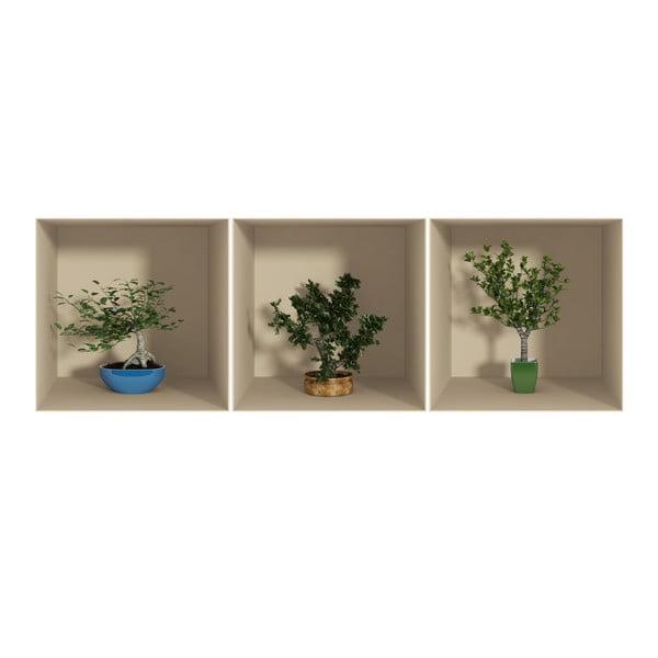 Small Trees 3D hatású 3 db-os falmatrica szett - Ambiance