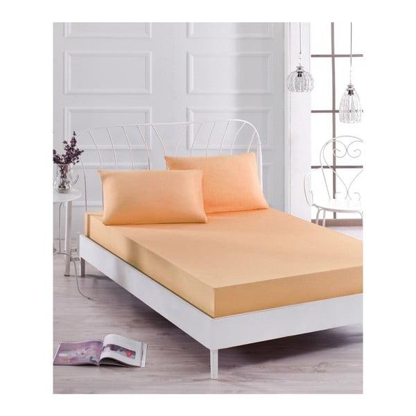 Basso Pomme halvány narancssárga elasztikus lepedő és párnahuzat szett egyszemélyes ágyhoz, 100 x 200 cm