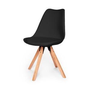 Černá židle s podnožím z bukového dřeva loomi.design Eco