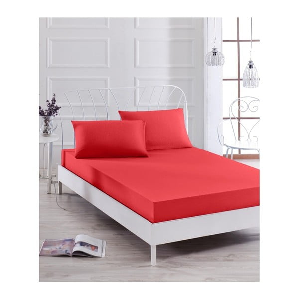 Basso Rojo piros elasztikus lepedő és párnahuzat szett egyszemélyes ágyhoz, 100 x 200 cm