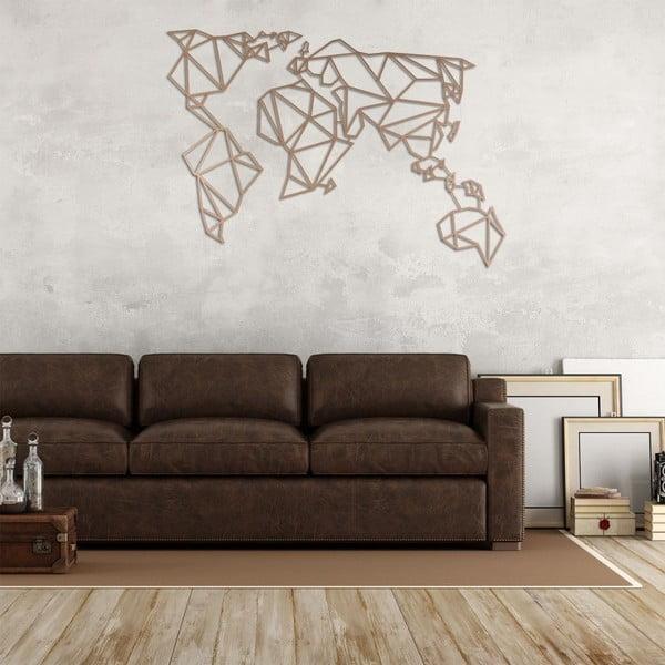 World rézszínű fém falidísz, 100 x 55 cm - Homemania