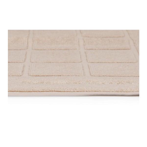 Beverly Hills Polo Club 2 darabos krém színű fürdőszobaszőnyeg szett négyzetes mintával, 80 x 50 cm