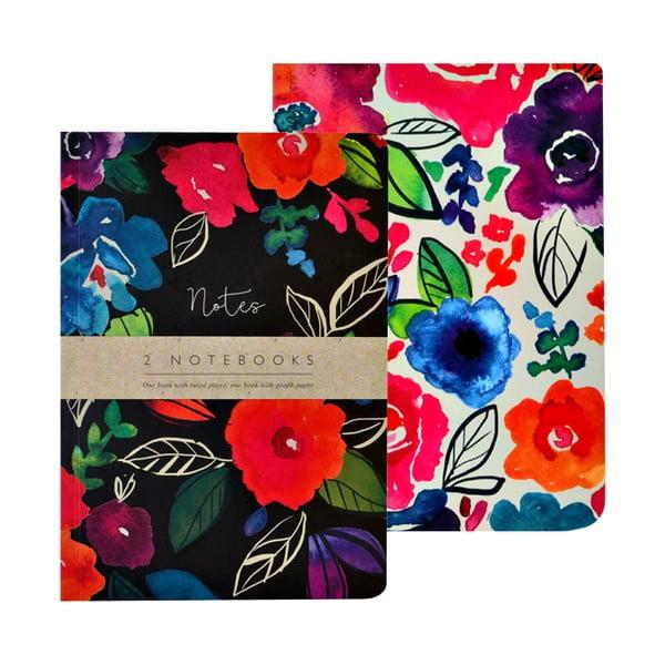 Bold Floral 2 darabos A5 méretű jegyzetfüzet, 100 oldalas - Portico Desings