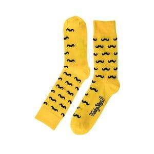 Mustache sárga zokni, méret 39 - 45 - Funky Steps