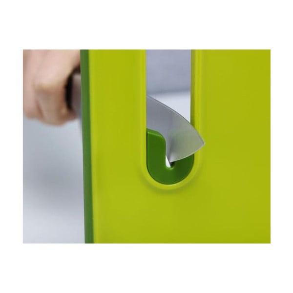 Slice&Sharpen szürke vágódeszka beépített késélezővel, hossz 37 cm - Joseph Joseph