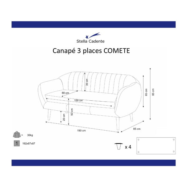 Comete bézs háromszemélyes kanapé - Scandi by Stella Cadente Maison