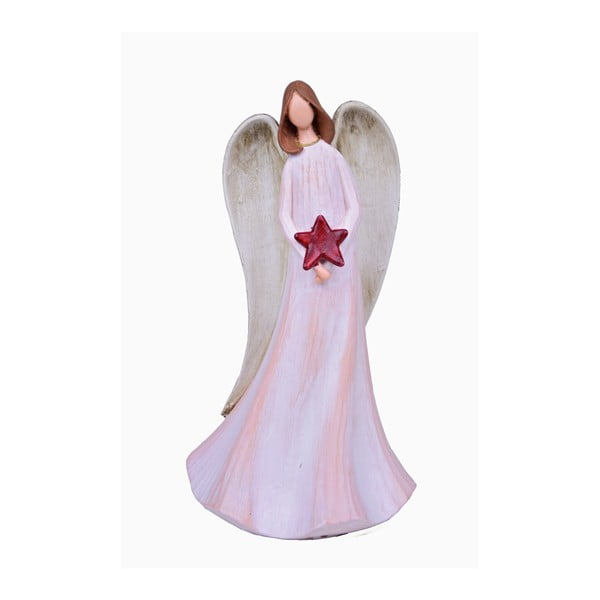 Lilith dekorációs angyal piros csillaggal, magassága 27 cm - Ego Dekor