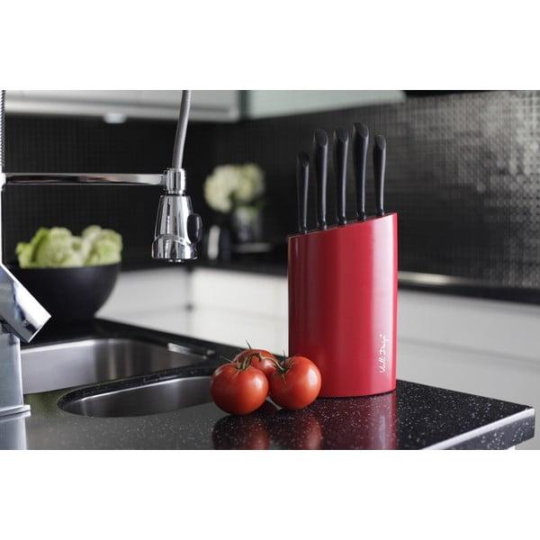 Piros késtartó, 5 késes - Vialli Design