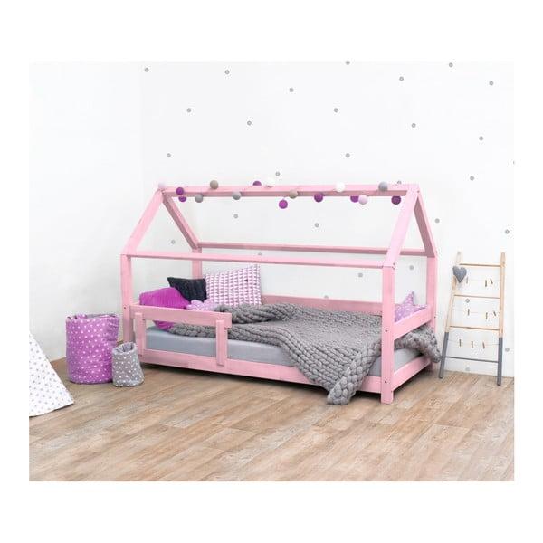 Tery rózsaszín lucfenyő gyerekágy oldalfallal, 90 x 200 cm - Benlemi