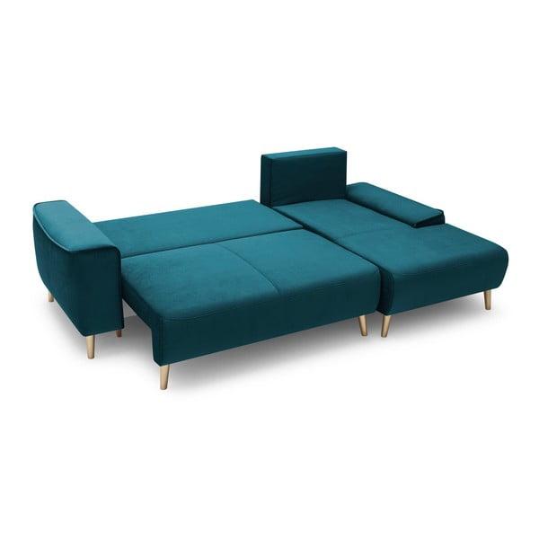 Hera sötétkék négyszemélyes kinyitható kanapé, jobb oldali - Bobochic Paris