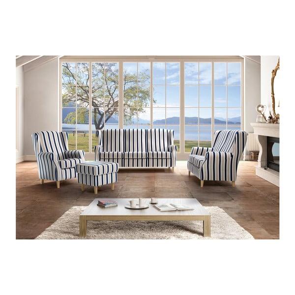 Lorris kék-fehér csíkos, füles fotel - Max Winzer