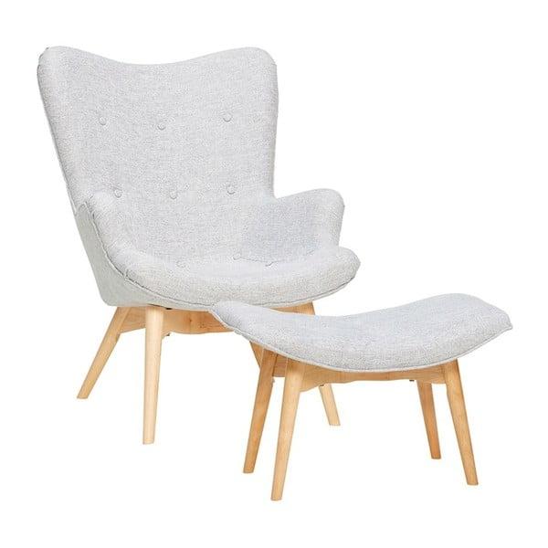 Denbt világosszürke fotel lábtartóval - Hübsch