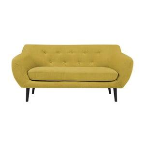 Piemont sárga 2 személyes kanapé barna lábakkal - Mazzini Sofas