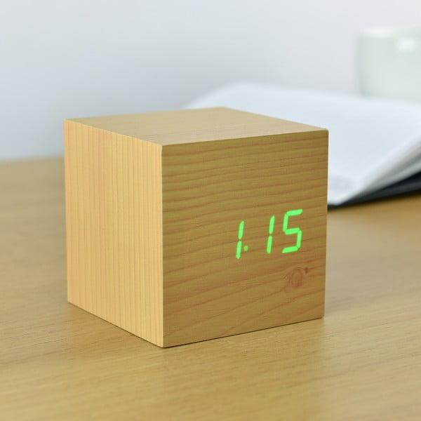 Cube Click Clock világosbarna ébresztőóra zöld LED kijelzővel - Gingko