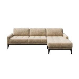Musso Tufted bézs kanapé jobboldali fekvőfotellel - MESONICA