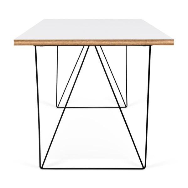 Flow fehér íróasztal fekete lábakkal, 75 x 140 cm - TemaHome