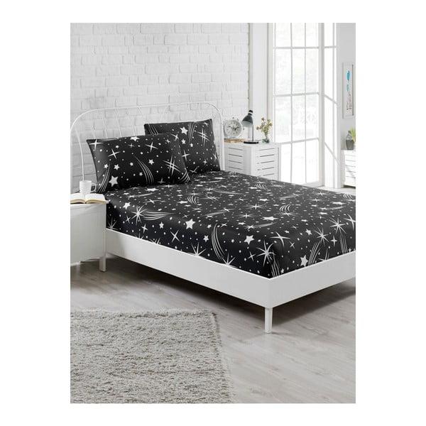 Starry Night fekete elasztikus lepedő és párnahuzat szett egyszemélyes ágyhoz, 100 x 200 cm