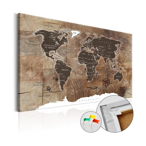 Wooden Mosaic fali világtérkép, 120 x 80 cm - Bimago