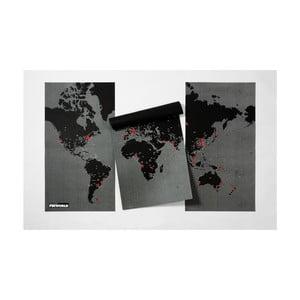 Pin World XL fekete falitérkép, 198 x 124 cm - Palomar
