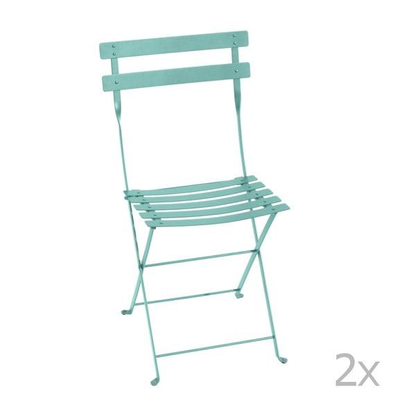 Bistro kék összecsukható fém kerti szék, 2 db - Fermob