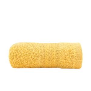 Sunny sárga színű tiszta pamut kéztörlő, 30 x 50 cm