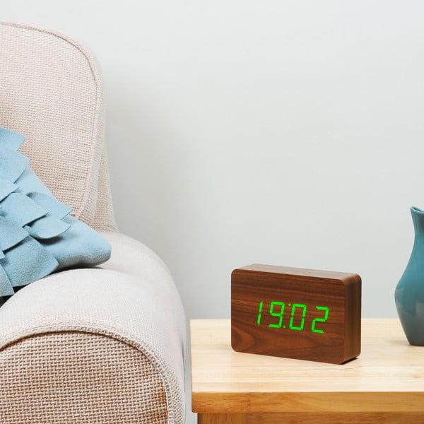 Brick Click Clock sötétbarna ébresztőóra zöld LED kijelzővel - Gingko