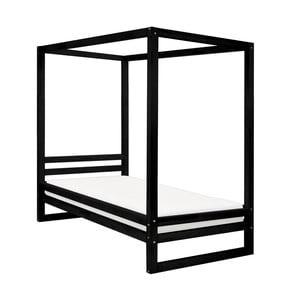 Černá dřevěná jednolůžková postel Benlemi Baldee, 200x120cm
