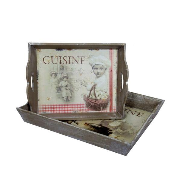 Cuisine 2 db-os fa tálcaszett - Antic Line