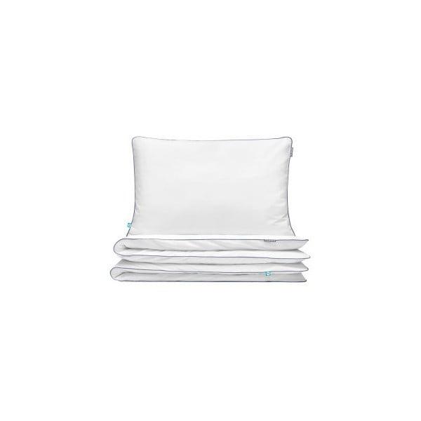 Fehér egyszemélyes pamut ágyneműhuzat garnitúra sötétkék szegéllyel, 140x200cm - Mumla