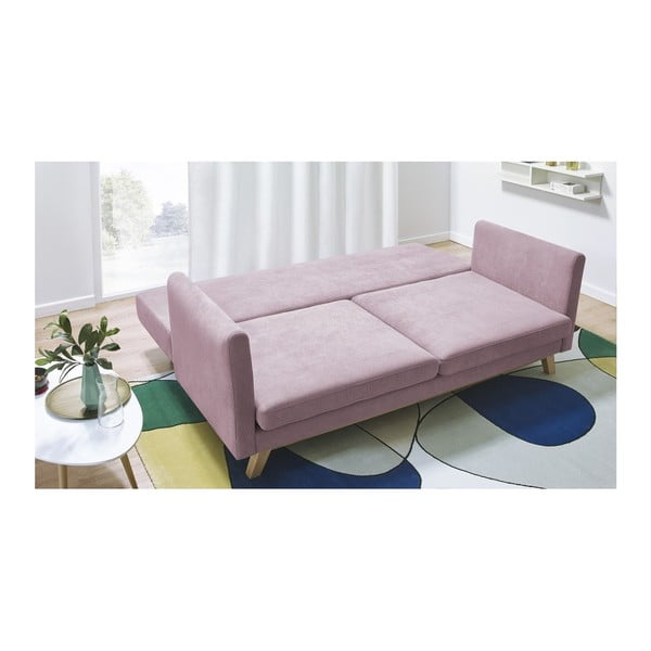 Triplo rózsaszín háromszemélyes kinyitható kanapé - Bobochic Paris