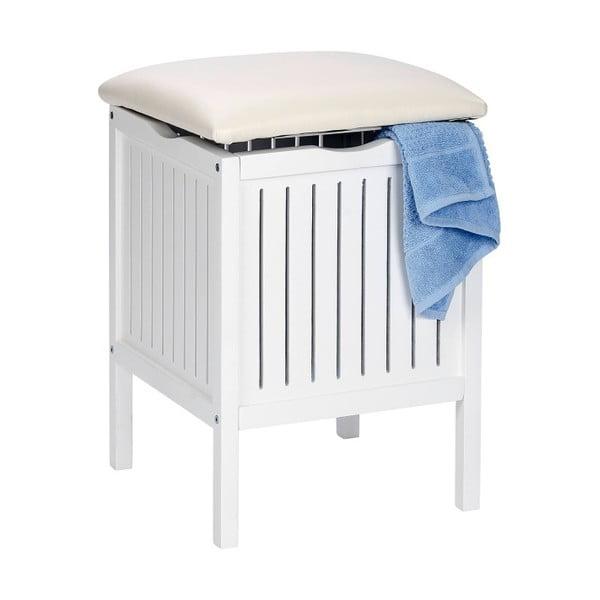 Oslo fehér, fürdőszobai ülőke fából, tárolóhellyel - Wenko
