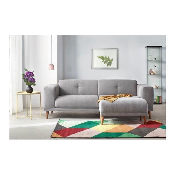 Luna szürke háromszemélyes kanapé, lábtartóval - Bobochic Paris