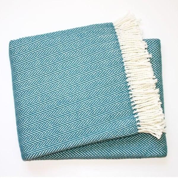 Skyline kék pamutkeverék pléd, 140 x 180 cm - Euromant
