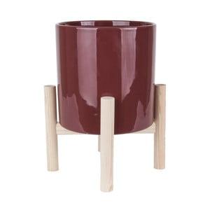 Trestle piros kerámiakaspó borovi lábszerkezettel - PT LIVING