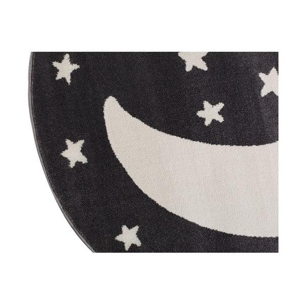 Black Moon fekete, kerek szőnyeg hold mintával, 133 x 133 cm - KICOTI