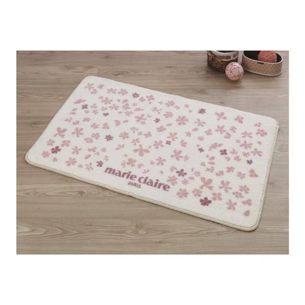 Delight rózsaszín-fehér fürdőszobaszőnyeg, 107 x 66 cm