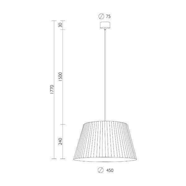 Kami krémszín mennyezeti függőlámpa fekete kábellel, ∅ 45 cm - Sotto Luce