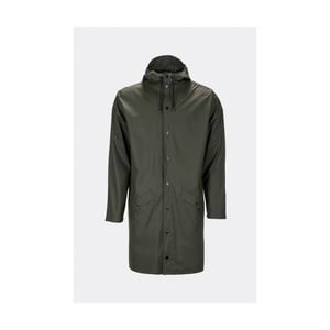Tmavě zelená unisex bunda s vysokou voděodolností Rains Long Jacket, velikost XS/S