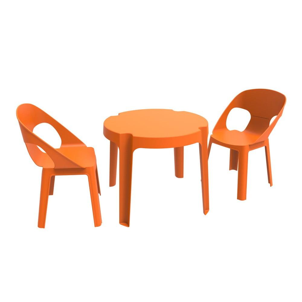 Julieta narancssárga gyerek kerti bútor garnitúra, 1 asztal és 2 szék Resol