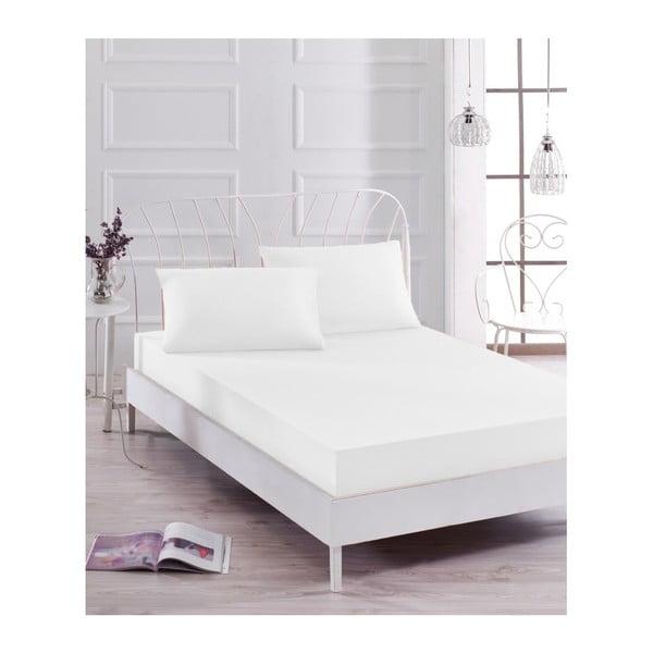 Basso Blanco fehér elasztikus lepedő és párnahuzat szett egyszemélyes ágyhoz, 100 x 200 cm