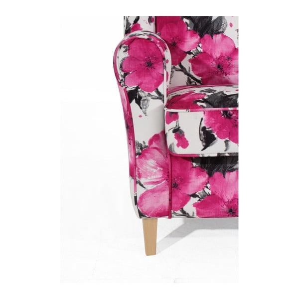 Lorris rózsaszín-fehér füles fotel - Max Winzer