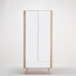 Ena ruhásszekrény tömör tölgyfa szerkezettel és fiókkal, magassága 200 cm - Gazzda