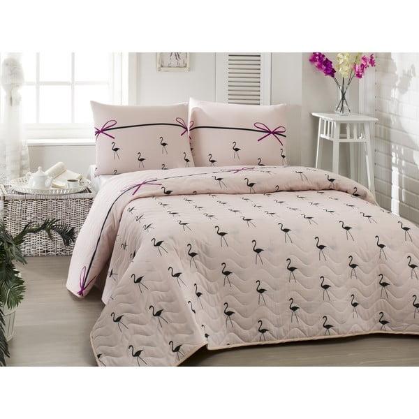 Flamingo Powder kétszemélyes rózsaszín steppelt ágytakaró párnahuzattal, 200 x 220 cm
