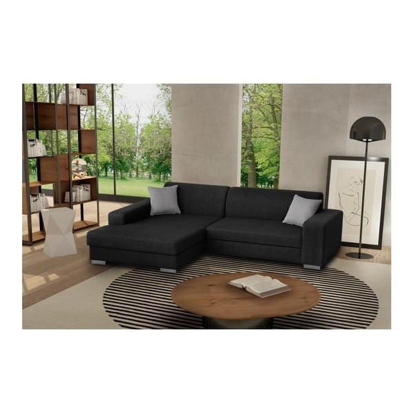 Catalani fekete kinyitható kanapé, bal oldali - Florenzzi
