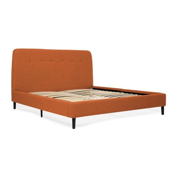 Mae King Size narancssárga franciaágy fekete lábakkal, 180 x 200 cm - Vivonita