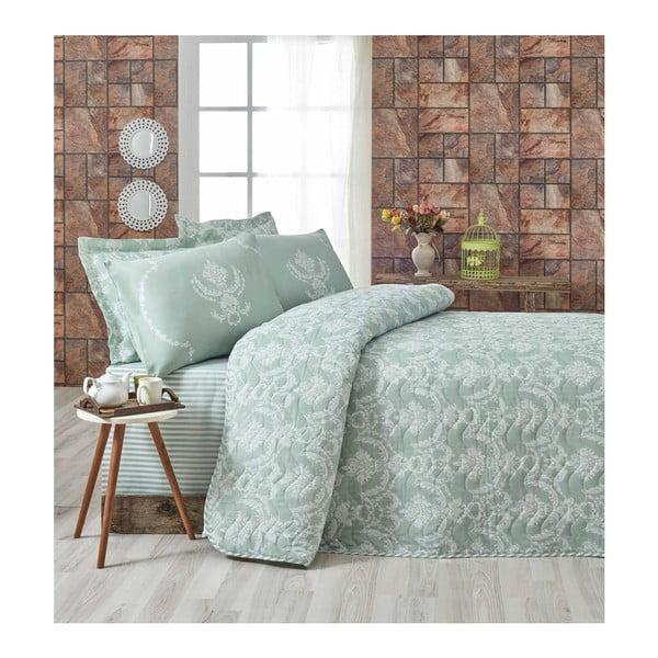 Pure világoszöld kétszemélyes ágytakaró párnahuzatokkal, 200 x 220 cm